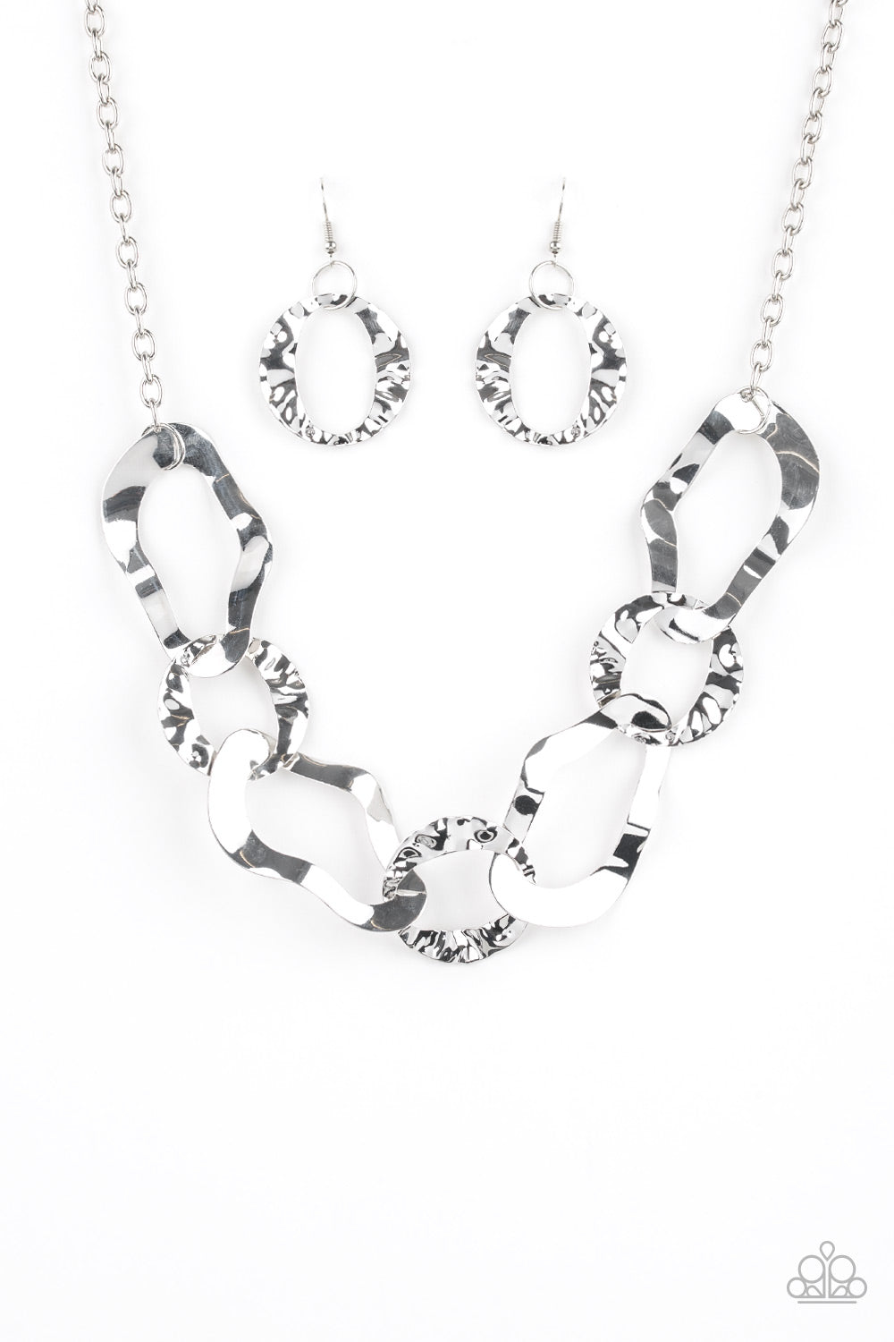 Paparazzi - Capital Contour - Silver Necklace Set - Classy Jewels by Linda
