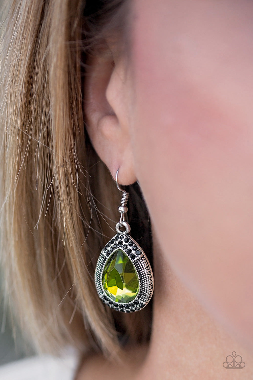 Paparazzi - Grandmaster Shimmer - Green Earrings - Classy Jewels by Linda