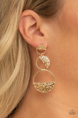 Paparazzi - Triple Trifecta - Gold Earrings - Classy Jewels by Linda