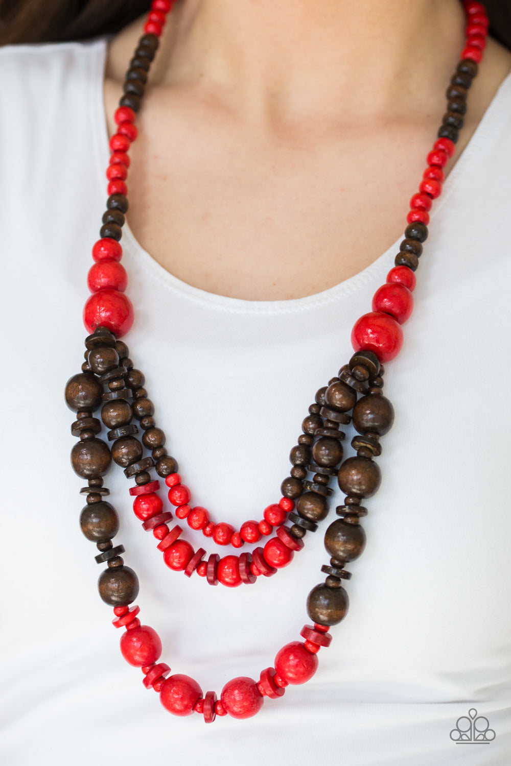 Paparazzi - Rio Rainbows - Red Wood Necklace Set - Classy Jewels by Linda