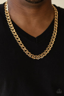 Paparazzi - Undefeated - Gold Mens Necklace - Classy Jewels by Linda