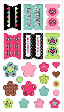 Hippie Chick fab fabrics Twill Embellishment Stickers