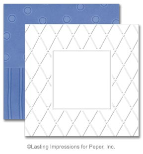 Simply Square Embossing Note Card Sets - Denim