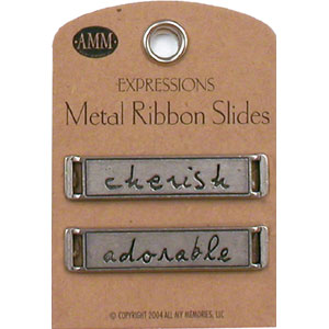 Metal Ribbon Slides - Cherish / Adorable (Gun Metal)