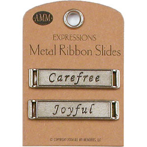 Metal Ribbon Slides - Carefree / Joyful (Gun Metal)