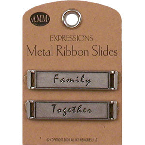 Metal Ribbon Slides - Family / Together (Gun Metal)