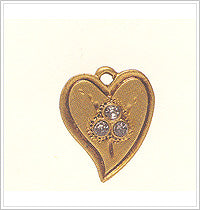 Anna Griffin Brass Embellishments - Heart Charms