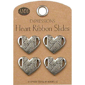 Heart Ribbon Slides - Love (Gun Metal)