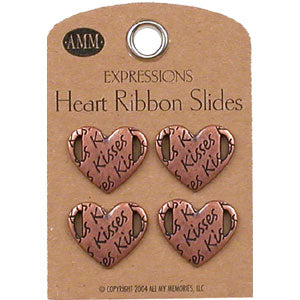 Heart Ribbon Slides - Kisses (Bronze)