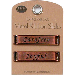 Metal Ribbon Slides - Carefree / Joyful (Bronze)