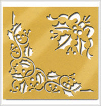 Anna Griffin Brass Stencil - Holly Corner