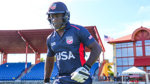 Xavier Marshall walks out at the start of play for USA's first ODI on home soil, USA v Papua New Guinea, CWC League Two tri-series