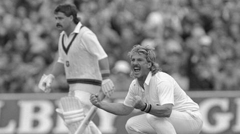 Ian Botham is jubilant during an Ashes Test match.