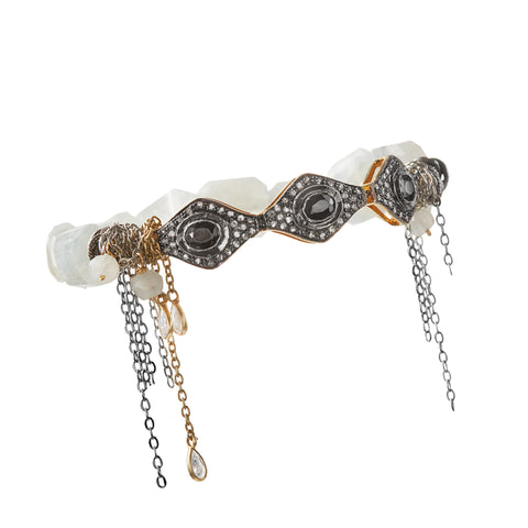 "HARPER HALLAM || ""Gimme Three Steps"" Diamond & Moonstone Bracelet (front view)"