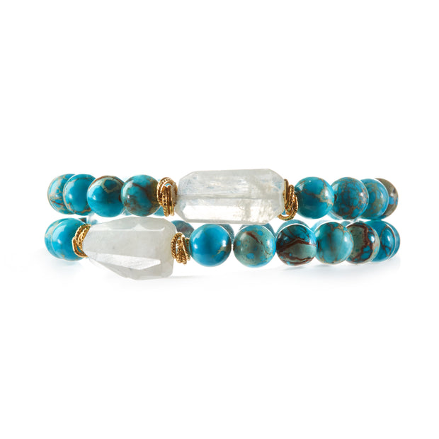 """Something in the Water"" • Turquoise Agate Stretchy Bracelets • by Harper Hallam (front view)"