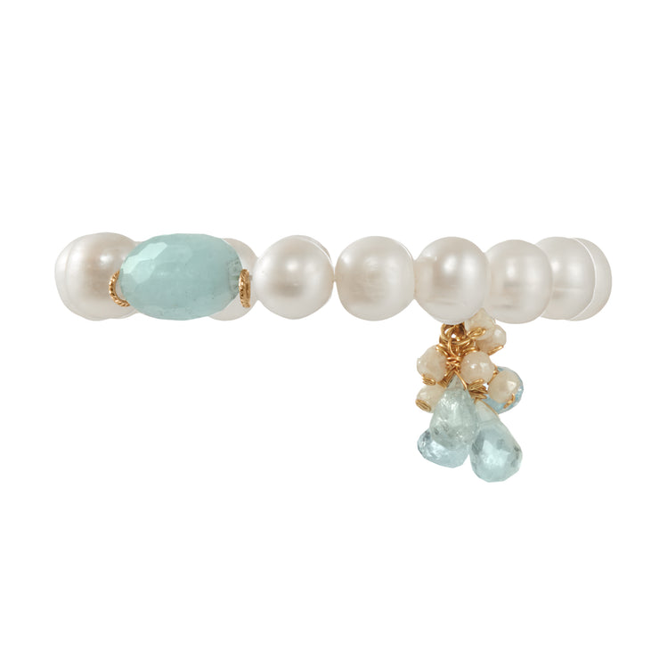"""Three Drops of Ocean"" • Freshwater Pearl Stretchy Bracelets"