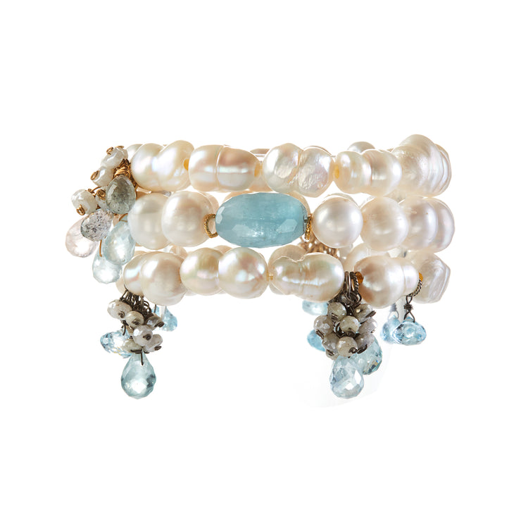 """Three Drops of Ocean"" • Freshwater Pearl Stretchy Bracelets with adornments of Raw Aquamarine and Baby White Sapphires (front view)"
