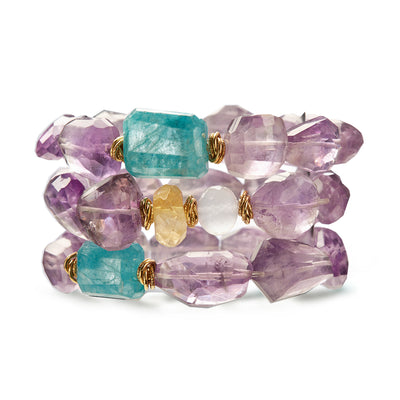 "Front View of HARPER HALLAM || ""Purple-ish Haze"" Raw Amethyst Stretchy Bracelets."