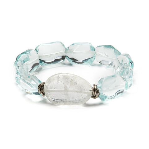 """Cool Cool Water"" • Blue Topaz and Quartz Stretchy Bracelet"