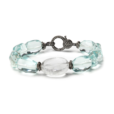 HARPER HALLAM • Cool Cool Water II Bracelet in Blue Topaz Quartz with Diamond Lobster Clasp side view.  Doesn't this remind you of sitting next to that cool, cool water, letting it carry all of your troubles away?  Yes, well then you need it on your wrist.  Now. This selection is for bracelet with blue topaz quartz, featuring a clear round quartz adornment and it open and closes with a sweet diamond lobster clasp.  It is 7 inches to fit most wrists.