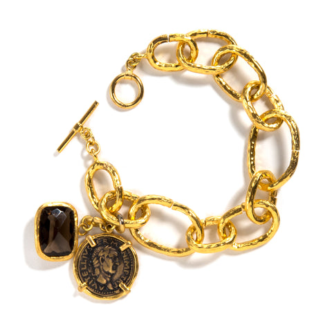 "Harper Hallam's ""Generosity Rules"" • Gold Link Bracelet with Coin and Smokey Topaz Drop"