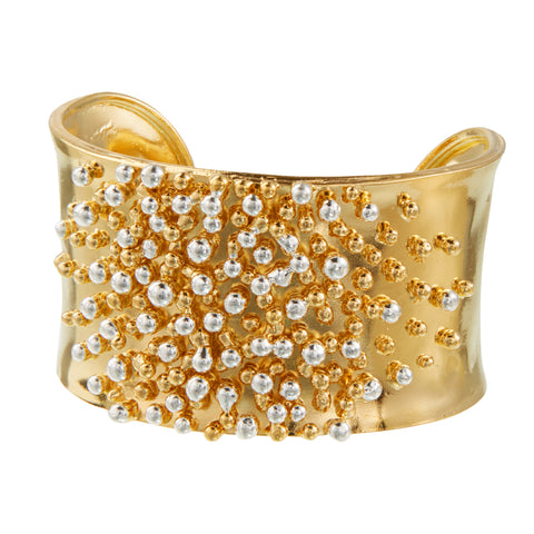 """All that Glitters is Gold III"" • Open Cuff in Silver and 24k Gold with Full Beading"