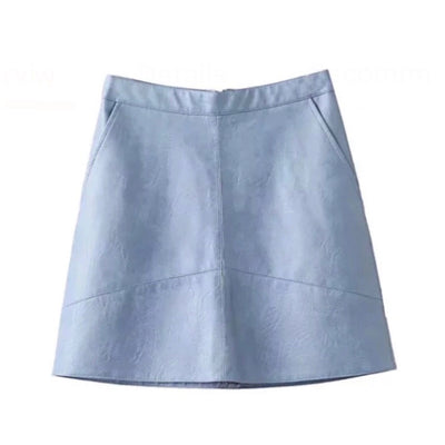 CLASSIC WITH A TWIST • Powder Blue Vegan Leather A-Line Skirt