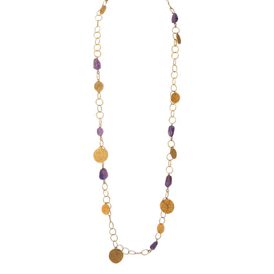 BE INSPIRED. BE ENCHANTED • Raw Amethyst & Coin Necklace