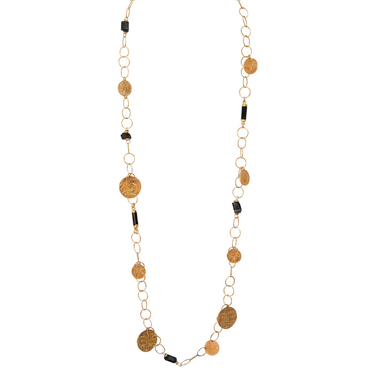 BE INSPIRED. BE ELECTRIC • Black Tourmaline & Gold Coin Necklace