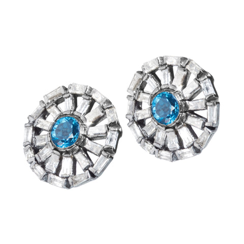 """Like a Blue Sky"" • Diamond & Blue Topaz Stud Earrings"