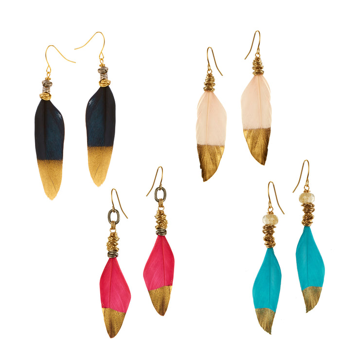 WAKE UP IN THE SKY • Feather Earrings Dipped in Gold
