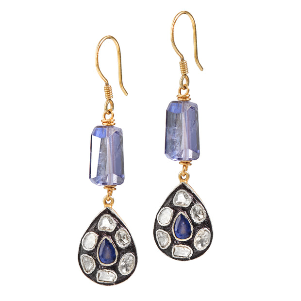 """Hey There Delilah at the Beach"" • Diamond & Gem Drop Earrings (Blue Topaz)"