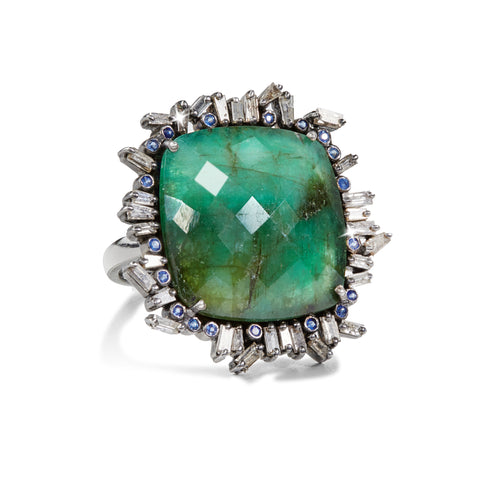 "HARPER HALLAM || ""Green-eyed Lady"" Large Emerald and Sapphire Ring (front view)"