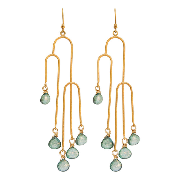 CHASING WATERFALLS • Matte Drop Earrings with Gems