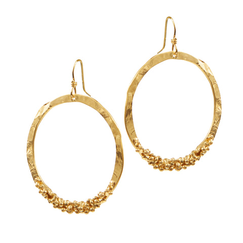 "HARPER HALLAM • ""GOLD DIGGER"" Drop Circle Earrings in Yellow Gold"