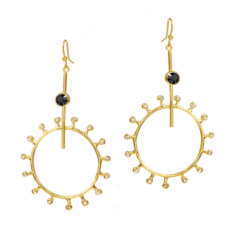 """Sun Worshipper"" • Drop Earrings with Black Enamel and Crystal Rays"