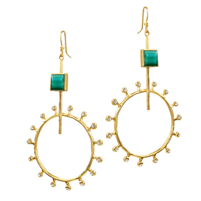 """Sun Worshipper"" • Drop Earrings with Turquoise Enamel & Crystal Rays"