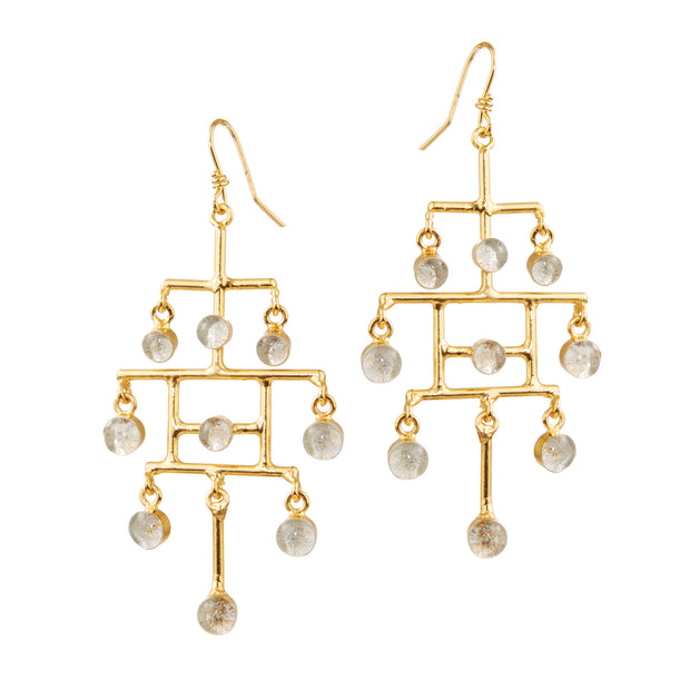 "HARPER HALLAM • ""Social Climber"" Structured Chandelier Earrings  Social Climber is just another way of describing someone who Seizes the Day, amiright?  So whether you are following the example of a renowned Roman poet with a call for ""Carpe Diem"" or ""Keeping up with the Kardashians"" . . . tomato, tomahto."