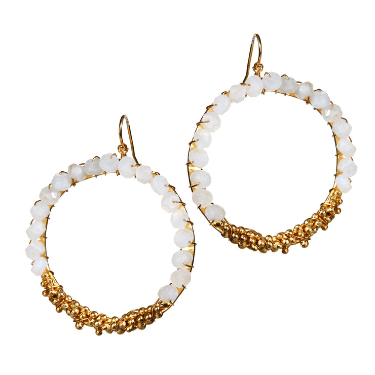 """Playa Moonlight"" • Drop Circle Earrings in 18k Gold with Moonstone Beading"