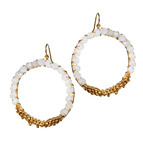 """Gold Digger Moonlight"" • Drop Circle Earrings in 18k Gold with Moonstone Beading"