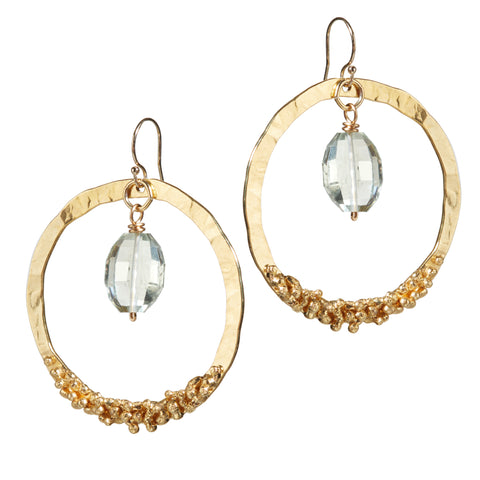 """Gold Digger Cruise"" • Drop Circle Earrings in 18k Gold with Green Amethyst"