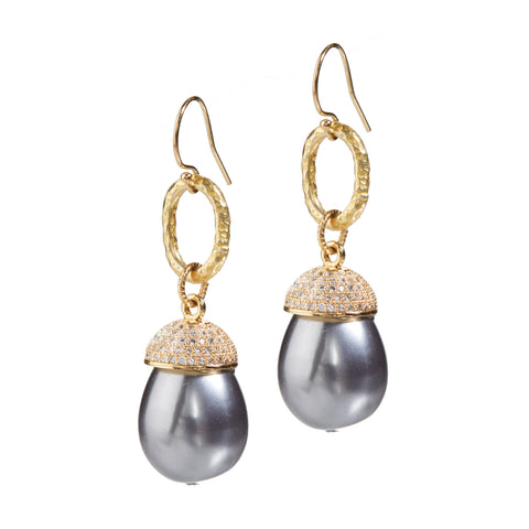 "HARPER HALLAM • ""Hawaii Pearl-Ohs"" Tahitian Black Pearl Drop Earrings  against a white background"