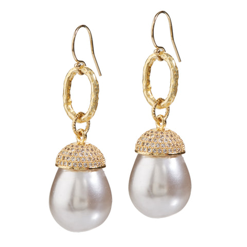 "HARPER HALLAM • ""Hawaii Pearl-Ohs"" Tahitian Ivory Pearl Drop Earrings against a white background"
