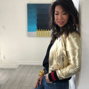 "Harper Hallam ""She Lettered in Bad-A$$sery"" Metallic Varsity Jacket in Gold on Blogger Samantha Stewart of @styleofsam"