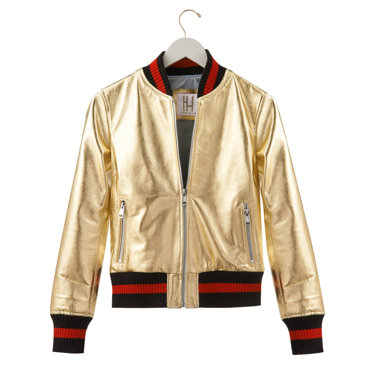 "Harper Hallam ""She Lettered in Bad-A$$sery"" Metallic Varsity Jacket Front View of the Gold"