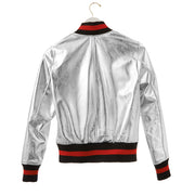 "Harper Hallam ""She Lettered in Bad-A$$sery"" Metallic Varsity Jacket Back View of the Silver"