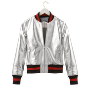 "Harper Hallam ""She Lettered in Bad-A$$sery"" Metallic Varsity Jacket Front View of the Silver"