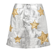 "HARPER HALLAM • ""When the Stars Align"" Metallic Leather Skirt and Stars"