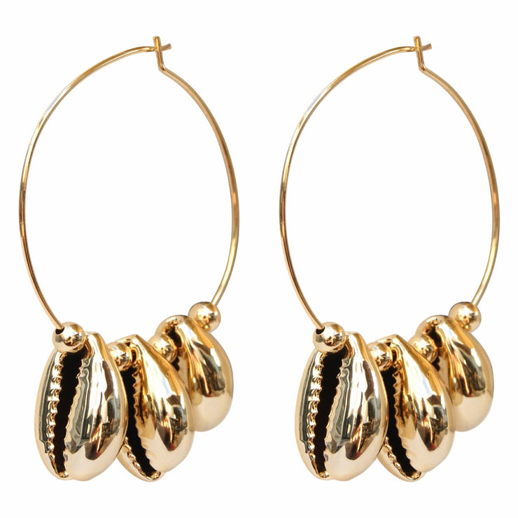 Gold Coast Escape | Mixed Metal Hoop Earrings with Gold Beads and Shells