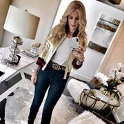 "Harper Hallam ""She Lettered in Bad-A$$sery"" Metallic Varsity Jacket in Gold on Blogger Heather Anderson of @soheatherblog"